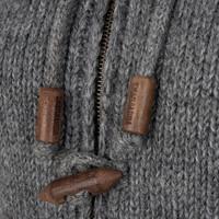 Shakaloha Shakaloha Wolljacke - Strickjacke Woodcord DLX Grau mit Fleece-Futter und Abnehmbarer Kapuze - Damen - Handgemacht in Nepal aus Schafwolle