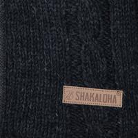 Shakaloha Shakaloha Gebreid Wollen Vest Plata ZH Antraciet met Fleece Voering en Afneembare Capuchon - Man/Uni - Handgemaakt in Nepal van Schapenwol