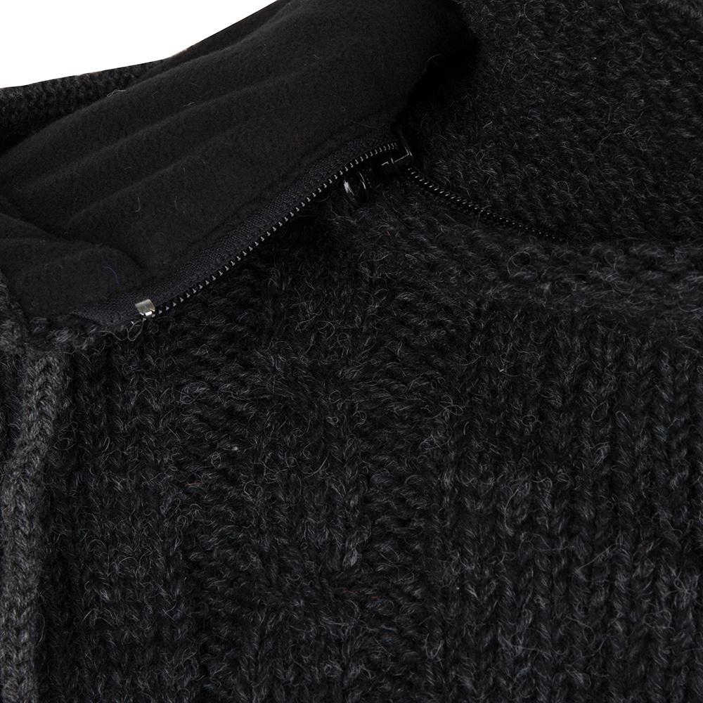 Shakaloha Shakaloha Wolljacke - Strickjacke Plata ZH Anthrazit mit Fleece-Futter und Abnehmbarer Kapuze - Herren - Uni - Handgemacht in Nepal aus Schafwolle
