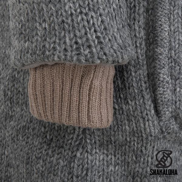 Shakaloha Shakaloha Wolljacke - Strickjacke Whistler DLX Grau mit Fleece-Futter und Abnehmbarer Kapuze - Damen - Handgemacht in Nepal aus Schafwolle