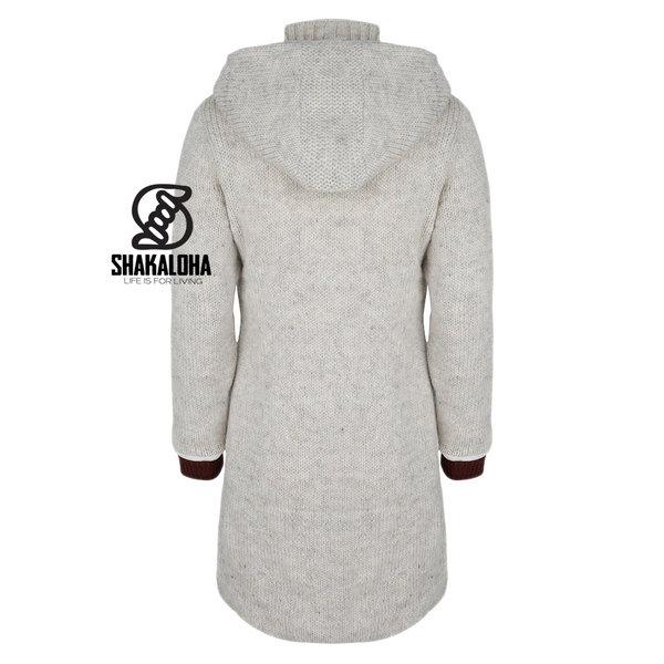 Shakaloha Shakaloha Knitted Woolen Jacket Whistler DLX  with Fleece Lining and Detachable Hood - Woman - Handmade in Nepal from sheep's wool