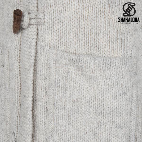 Shakaloha Shakaloha Wolljacke - Strickjacke Whistler DLX Beige Creme mit Fleece-Futter und Abnehmbarer Kapuze - Damen - Handgemacht in Nepal aus Schafwolle