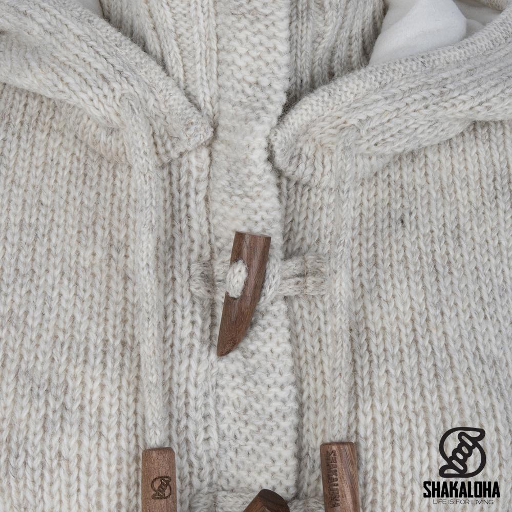 Shakaloha Shakaloha Veste en Laine Tricoté Whistler DLX Crème beige avec Doublure en polaire et Capuche détachable - Femmes - Fabriqué à la main au Népal en laine de mouton
