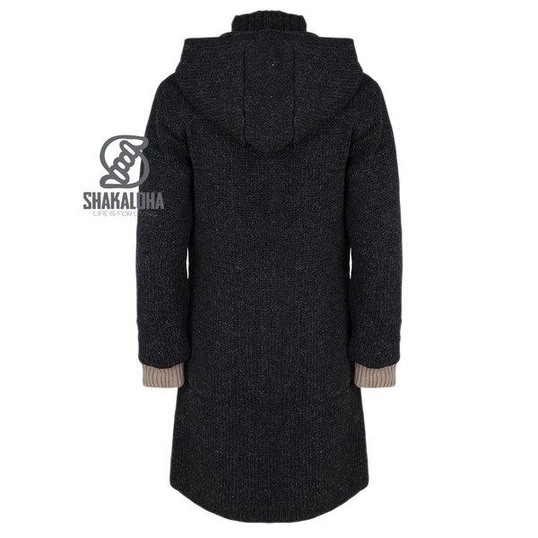 Shakaloha Shakaloha Wolljacke - Strickjacke Whistler DLX Anthrazit mit Fleece-Futter und Abnehmbarer Kapuze - Damen - Handgemacht in Nepal aus Schafwolle