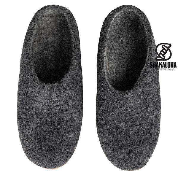 Woolloows Shuffle Grey Wool Slipper mit Wildledersohle