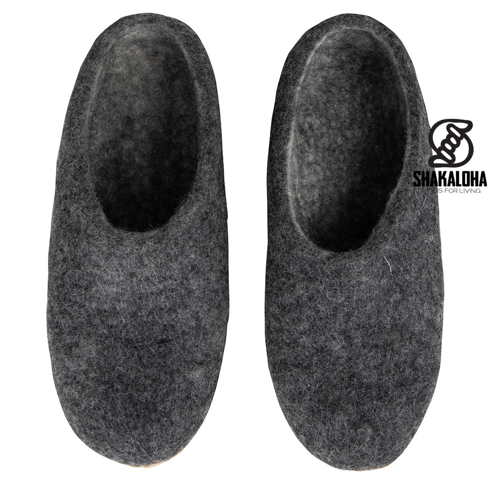Woolloows Chaussons Shuffle Grey en Laine avec semelle en daim
