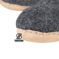 Woolloows Shuffle Grey Wollen Pantoffels met suede zool