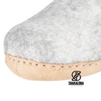 Woolloows Shuffle Beige Wollpantoffeln mit Wildledersohle