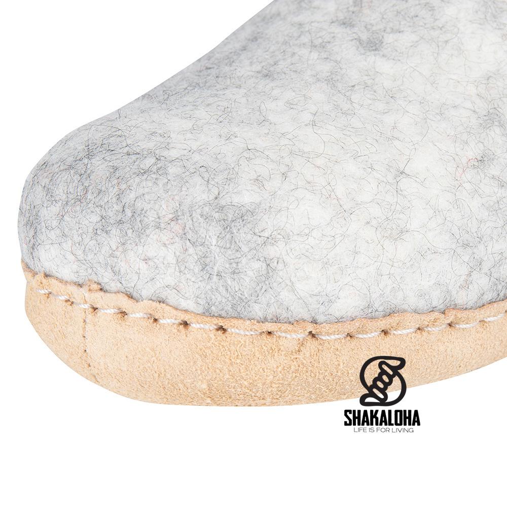 Woolloows Shuffle Beige Wollen Pantoffels met suede zool