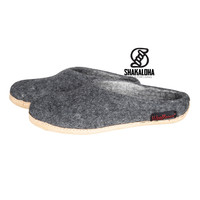 Woolloows Shuffle Gray Wool Slippers with suede sole