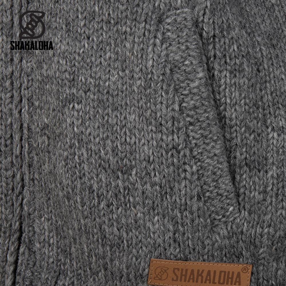 Shakaloha Shakaloha Wolljacke - Strickjacke Gin Ziphood Grau mit Fleece-Futter und Abnehmbarer Kapuze - Damen - Handgemacht in Nepal aus Schafwolle