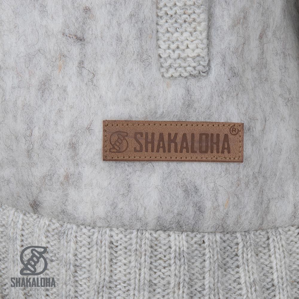 Shakaloha Cardigan en laine tricoté Shakaloha Baseball ZH avec doublure en coton et capuche amovible - Homme / Uni - Fait à la main au Népal à partir de laine de mouton