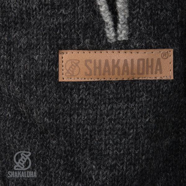 Shakaloha Shakaloha Wolljacke - Strickjacke Nevada Anthrazit mit Fleece-Futter und Kapuze - Damen - Handgemacht in Nepal aus Schafwolle