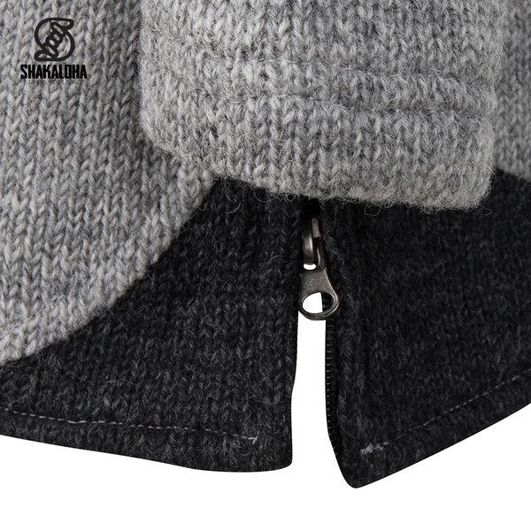 Shakaloha Shakaloha Wolljacke - Strickjacke Nevada Grau mit Fleece-Futter und Kapuze - Damen - Handgemacht in Nepal aus Schafwolle