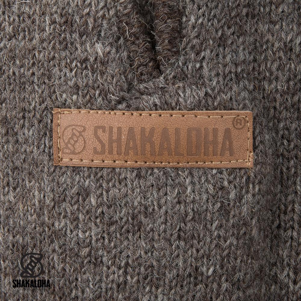 Shakaloha Shakaloha Wolljacke - Strickjacke Nevada Hellbraune Taupe mit Fleece-Futter und Kapuze - Damen - Handgemacht in Nepal aus Schafwolle
