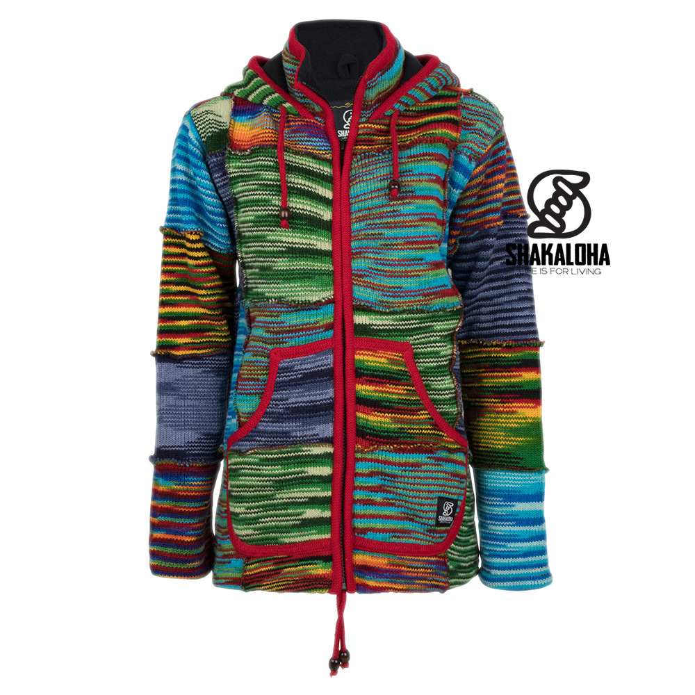 Shakaloha Shakaloha Knitted Woolen Jacket Single Patch Multi-colored with Fleece Lining and Hood with inner collar - Woman - Handmade in Nepal from sheep's wool