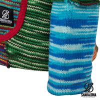 Shakaloha Shakaloha Wolljacke - Strickjacke Single Patch Mehrfarbiges Fell mit Fleece-Futter und Kapuze mit Innenkragen - Damen - Handgemacht in Nepal aus Schafwolle
