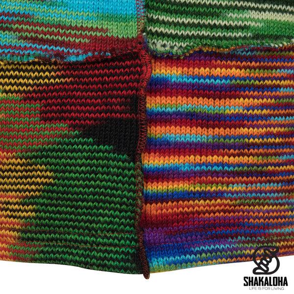 Shakaloha Shakaloha Gebreid Wollen Vest Single Patch Meerkleurig Bont met Fleece Voering en Capuchon met Binnenkraag - Dames - Handgemaakt in Nepal van Schapenwol