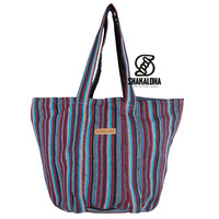 Shakaloha Striped Large Beach Bag Heach Bag Blue