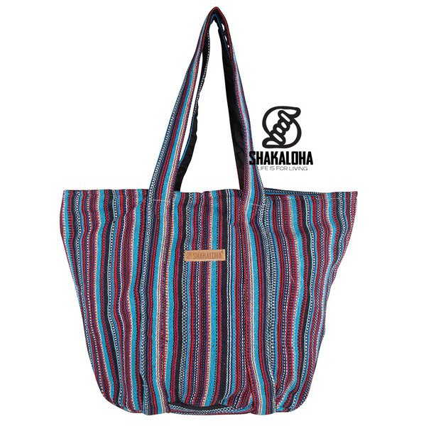 Shakaloha Gestreepte Grote Strandtas Heach Bag Blauw