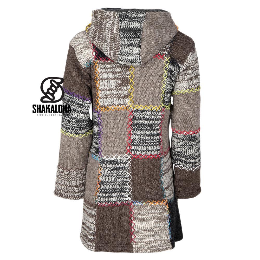 Shakaloha Shakaloha Gebreid Wollen Vest Longpatch  met Fleece Voering en Capuchon - Dames - Handgemaakt in Nepal van Schapenwol