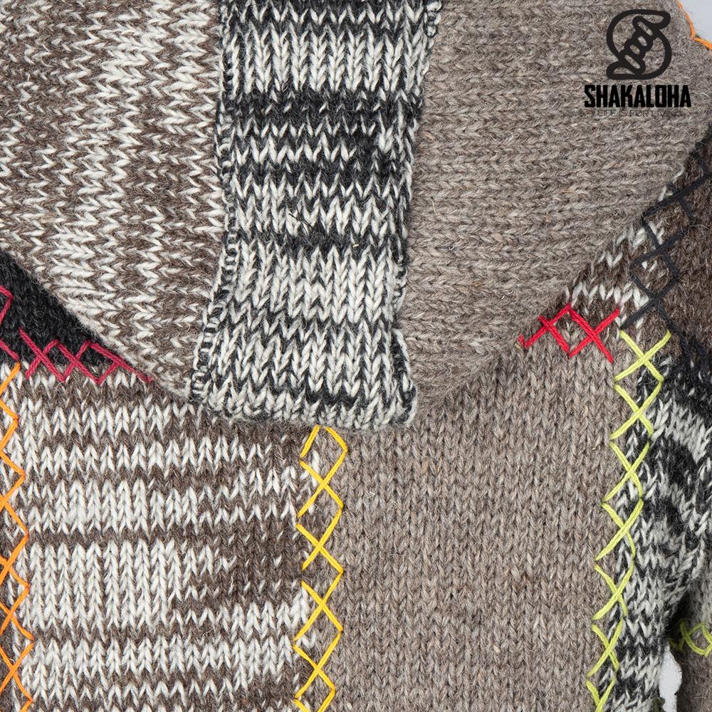 Shakaloha Shakaloha Wolljacke - Strickjacke Longpatch Natürliche Farben mit Fleece-Futter und Kapuze - Damen - Handgemacht in Nepal aus Schafwolle