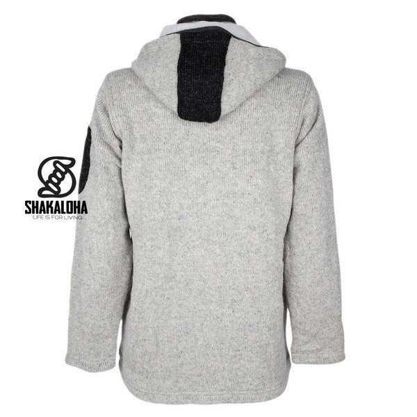 Shakaloha Shakaloha Knitted Wool Cardigan Luxor ZH with Fleece Lining and Detachable Hood - Man / Uni - Handmade in Nepal from Sheep Wool