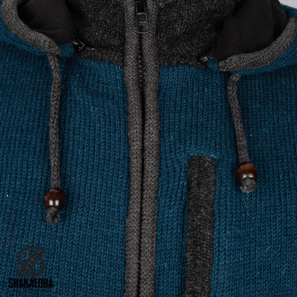 Shakaloha Cardigan en laine tricoté Shakaloha Luxor ZH avec doublure polaire et capuche amovible - Homme / Uni - Fait à la main au Népal à partir de laine de mouton