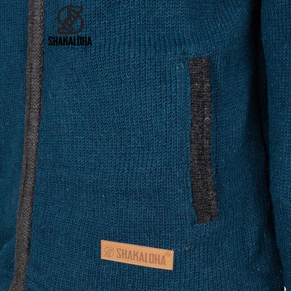 Shakaloha Shakaloha Knitted Wool Cardigan Luxor ZH with Fleece Lining and Detachable Hood - Man / Uni - Handmade in Nepal from Sheep Wool