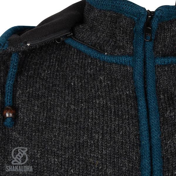 Shakaloha Shakaloha Gebreid Wollen Vest Luxor ZH  met Fleece Voering en Afneembare Capuchon - Man/Uni - Handgemaakt in Nepal van Schapenwol