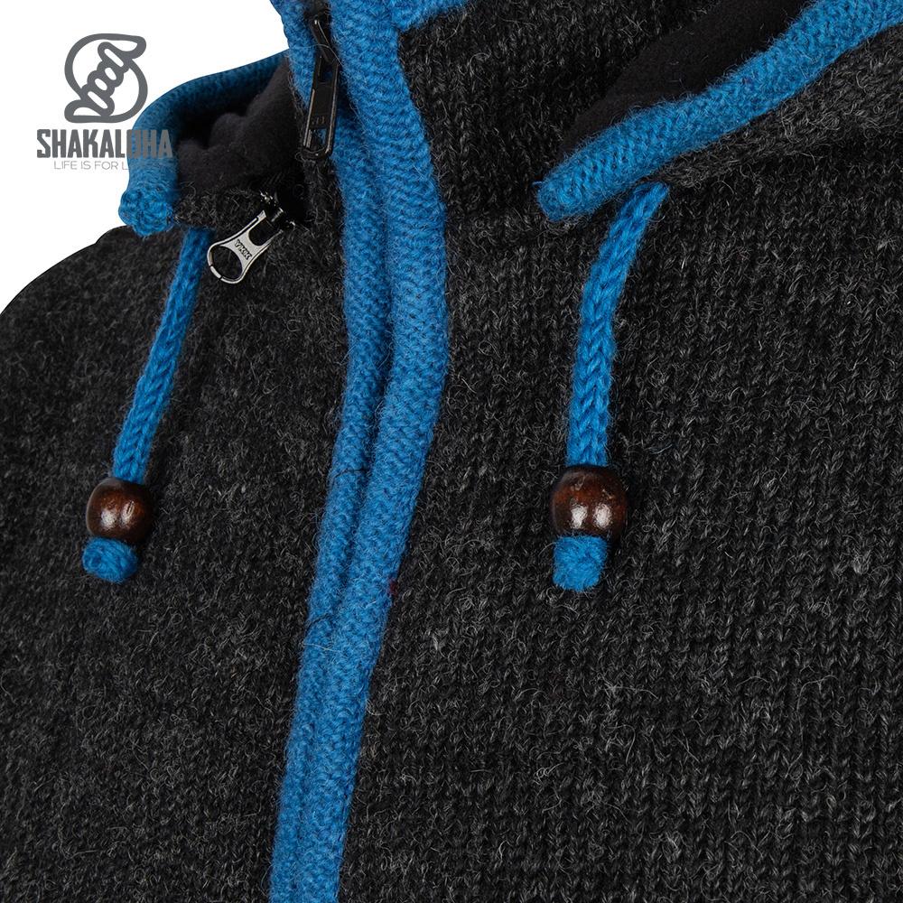 Shakaloha Shakaloha Gebreid Wollen Vest Edge ZH  met Fleece Voering en Afneembare Capuchon - Man/Uni - Handgemaakt in Nepal van Schapenwol