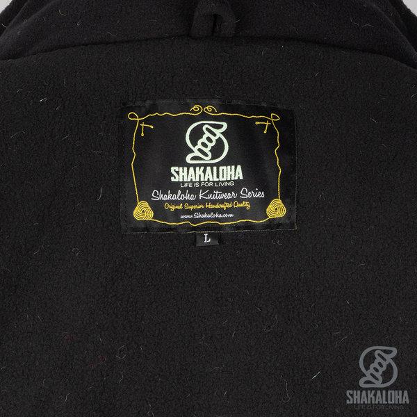 Shakaloha Shakaloha Wolljacke - Strickjacke Edge ZH Anthrazit Kobalt mit Fleece-Futter und Abnehmbarer Kapuze - Herren - Uni - Handgemacht in Nepal aus Schafwolle