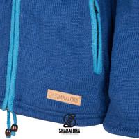 Shakaloha Shakaloha Wolljacke - Strickjacke Scoop ZH Blaugrün Hellblau mit Fleece-Futter und Abnehmbarer Kapuze - Damen - Handgemacht in Nepal aus Schafwolle