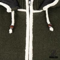 Shakaloha Shakaloha Knitted Woolen Jacket Scoop ZH  with Fleece Lining and Detachable Hood - Men - Unisex - Handmade in Nepal from sheep's wool
