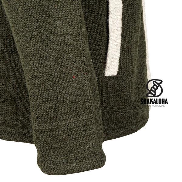 Shakaloha Shakaloha Wolljacke - Strickjacke Scoop ZH Olivfarbene Creme mit Fleece-Futter und Abnehmbarer Kapuze - Herren - Uni - Handgemacht in Nepal aus Schafwolle