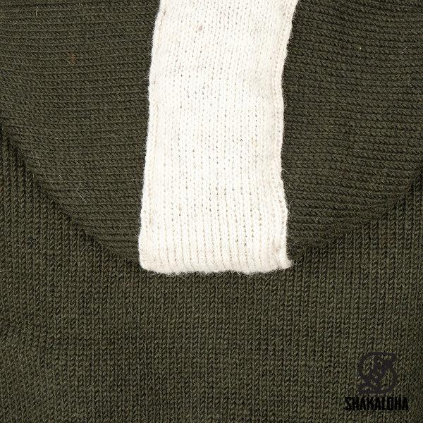 Shakaloha Shakaloha Gebreid Wollen Vest Scoop ZH  met Fleece Voering en Afneembare Capuchon - Man/Uni - Handgemaakt in Nepal van Schapenwol