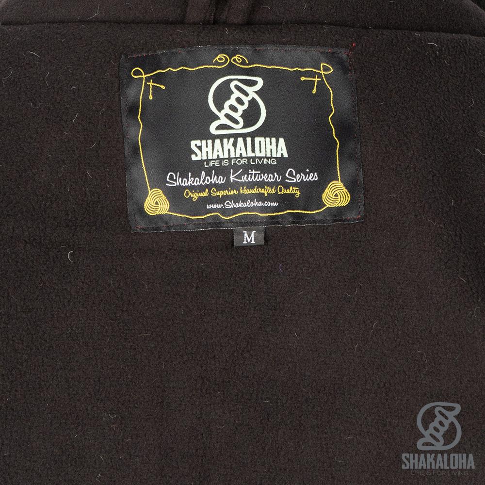 Shakaloha Shakaloha Veste en Laine Tricoté Scoop ZH Crème de couleur olive avec Doublure en polaire et Capuche détachable - Hommes - Uni - Fabriqué à la main au Népal en laine de mouton