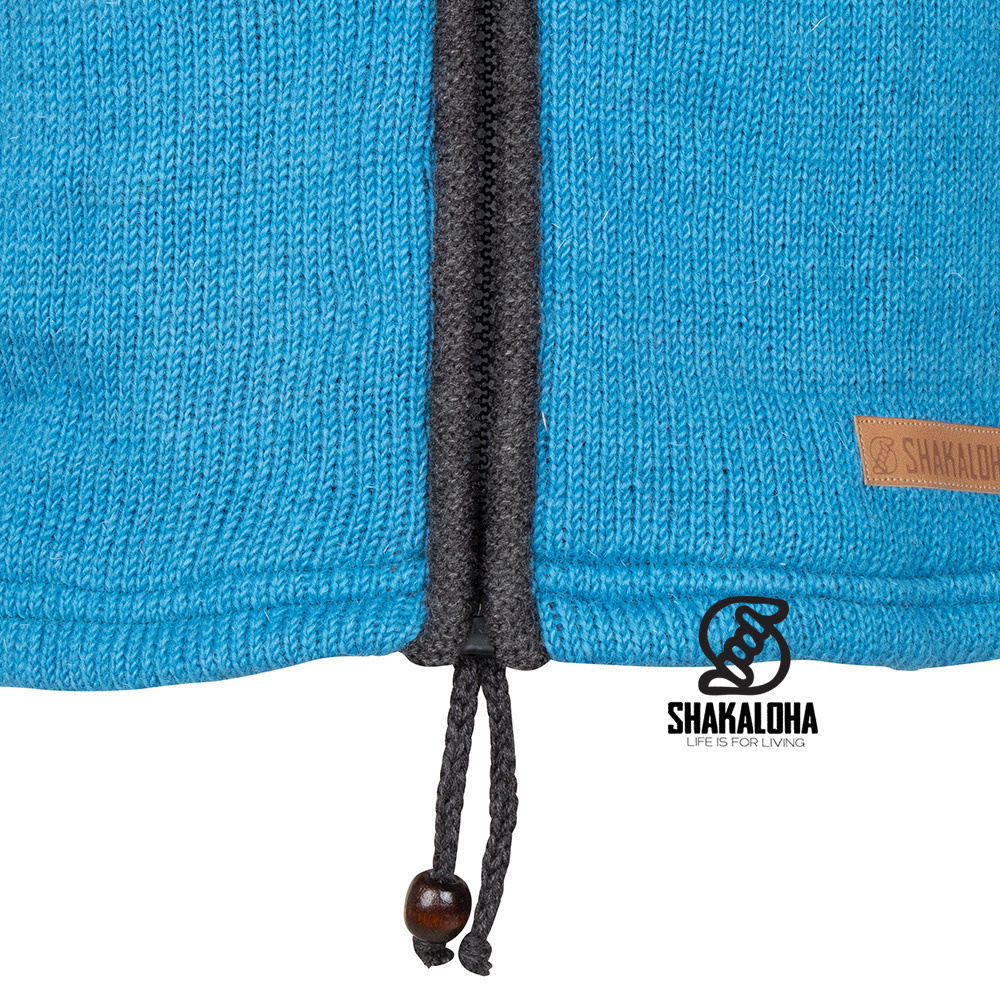 Shakaloha Shakaloha Veste en Laine Tricoté Scoop ZH Bleu clair anthracite avec Doublure en polaire et Capuche détachable - Hommes - Uni - Fabriqué à la main au Népal en laine de mouton