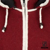 Shakaloha Shakaloha Knitted Woolen Jacket Scoop ZH  with Fleece Lining and Detachable Hood - Woman - Handmade in Nepal from sheep's wool