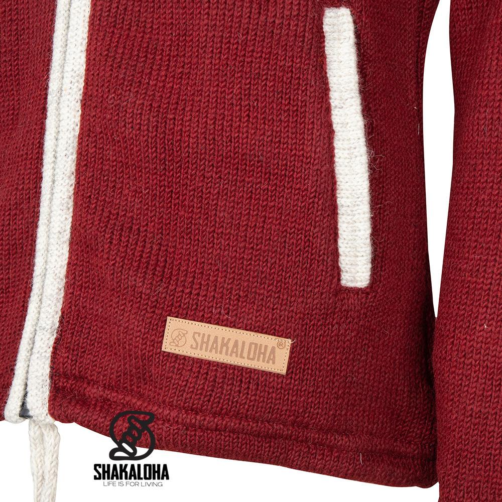 Shakaloha Shakaloha Veste en Laine Tricoté Scoop ZH Crème Beige Rouge Vin avec Doublure en polaire et Capuche détachable - Femmes - Fabriqué à la main au Népal en laine de mouton