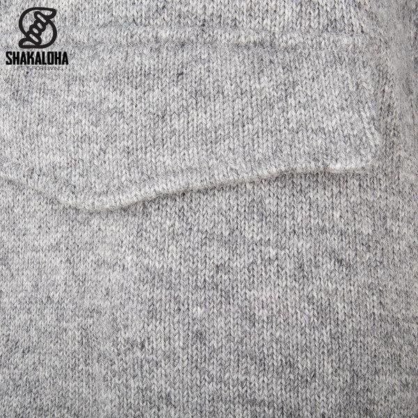 Shakaloha Shakaloha Wolljacke - Strickjacke Pager Grau mit Baumwollfutter und Kapuze - Damen - Handgemacht in Nepal aus Schafwolle