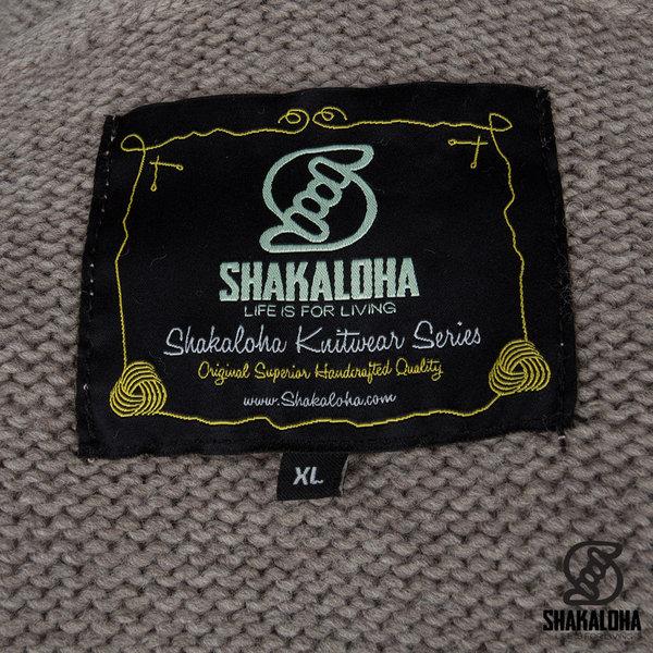 Shakaloha Shakaloha Knitted Wool Cardigan Shepherd Light Brown Taupe with Unlined and Hood - Man / Uni - Handmade in Nepal from Merino Wool