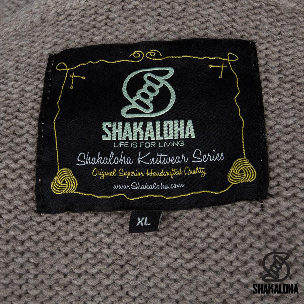 Shakaloha Shakaloha Strickwolle Cardigan Shepherd Hellbraunes Taupe mit Ungefüttert und Kapuze - Man / Uni - Handgefertigt in Nepal aus Merinowolle