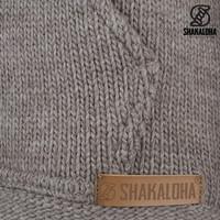 Shakaloha Shakaloha Gebreid Wollen Vest Shepherd Licht Bruin Taupe met Ongevoerd en Capuchon - Man/Uni - Handgemaakt in Nepal van Merino Wol