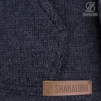 Shakaloha Shakaloha Strickwolle Cardigan Shepherd Anthrazit mit Ungefüttert und Kapuze - Man / Uni - Handgefertigt in Nepal aus Merinowolle