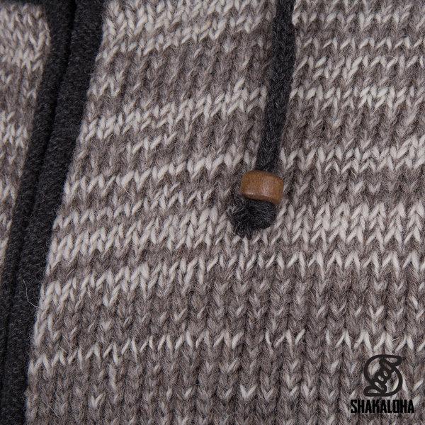 Shakaloha Shakaloha Strickwolle Strickjacke Talbot ZH Beige Hellbraun mit Fleecefutter und abnehmbarer Kapuze - Man / Uni - Handgefertigt in Nepal aus Schafwolle