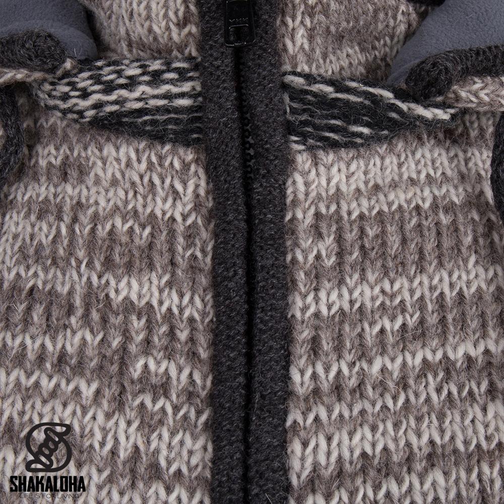 Shakaloha Shakaloha Gebreid Wollen Vest Talbot ZH Beige Licht Bruin met Fleece Voering en Afneembare Capuchon - Man/Uni - Handgemaakt in Nepal van Schapenwol