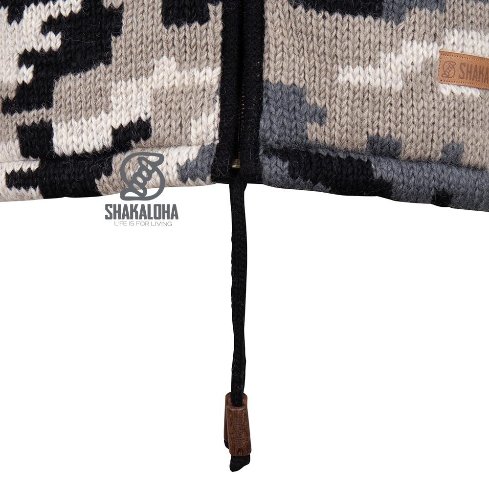 Shakaloha Strickjacke aus Wolle im Camo-Muster Herren M Endeavour ZH Grau