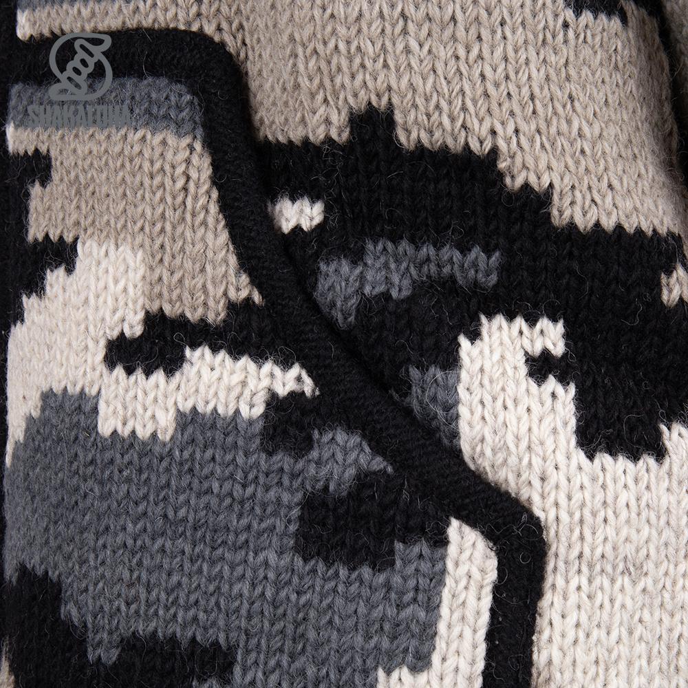 Shakaloha Camo Pattern Knitted Wool Cardigan Men M Endeavor ZH Gray