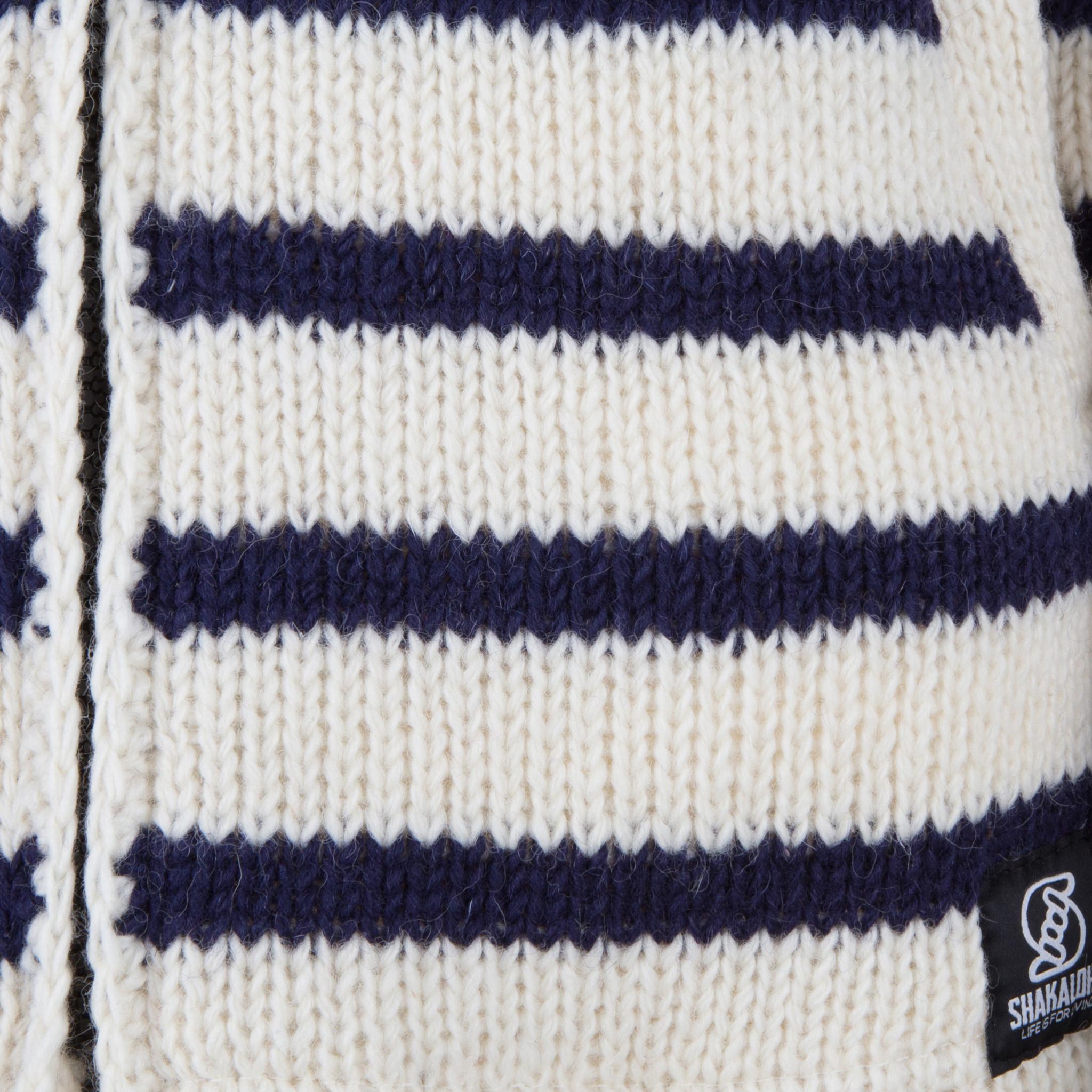 Shakaloha Cardigan en laine tricoté Shakaloha Breton Ziphood blanc bleu marine avec doublure en polaire et capuche amovible - Femme - Fabriqué à la main au Népal à partir de laine de mouton - Copie